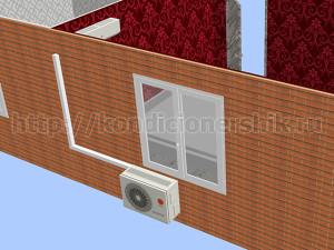 Внешний блок справа под окном