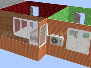 Внешний блок между балконом и окном