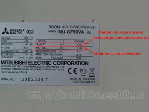 Табличка с характеристиками кондиционера