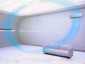 Сплит-система забирает воздух из комнаты и очищает его